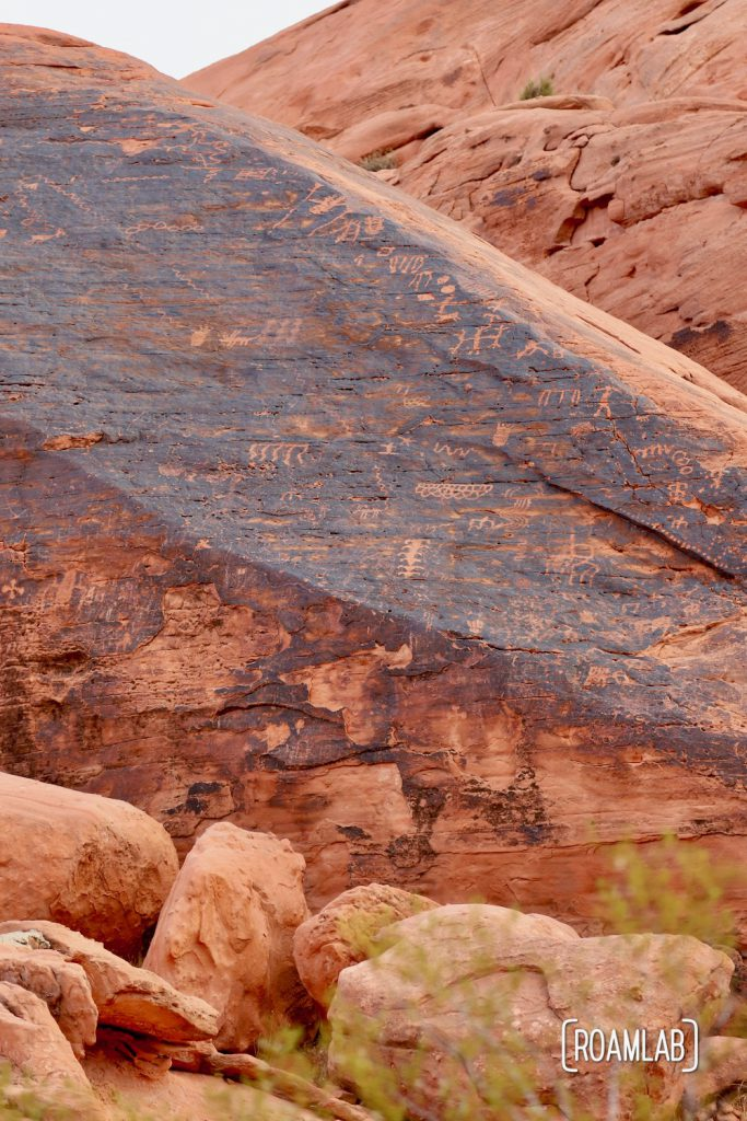 Boulder covered with petroglyphs along the Mouse Tank's Valley of Fire State Park.
