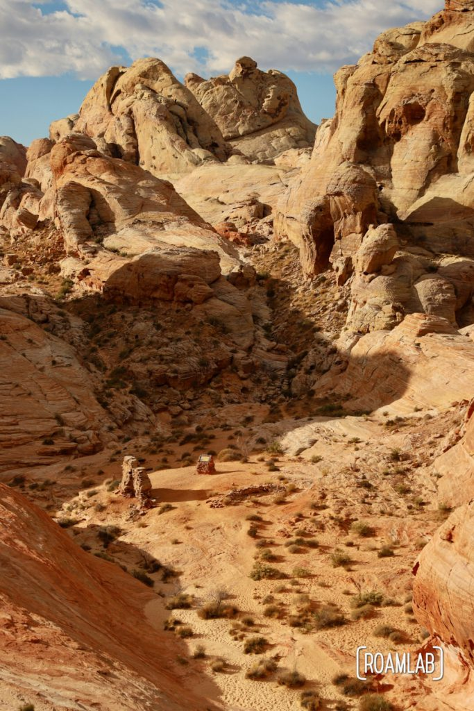 Looking down on the filming location of the 1966 film, The Professionals on White Domes Trail in Nevada's Valley of Fire State Park.