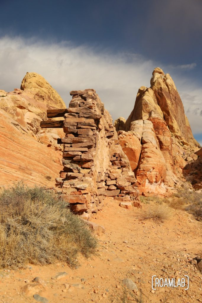 Rough rubble remains of a set from The Professionals in White Domes Trail in Nevada's Valley of Fire State Park.