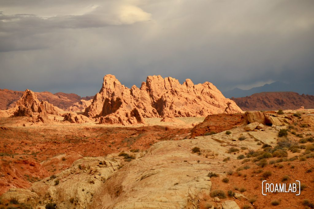 Sweeping vista of red rocks from White Domes Trail in Nevada's Valley of Fire State Park.