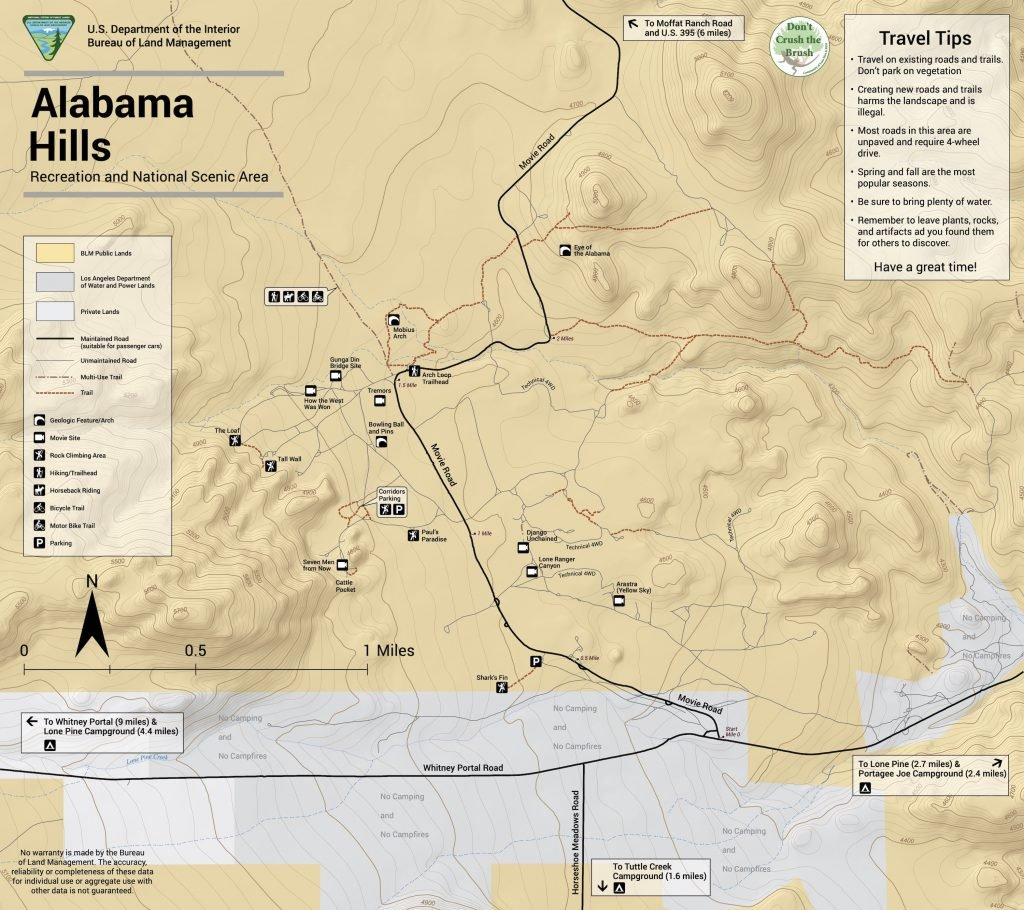 Map of the Alabama Hills by the Bureau of Land Management.