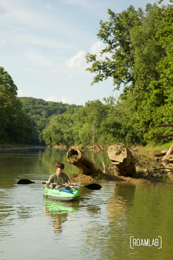 Kayaking down the Green River along the Houchin Ferry Campground in Mammoth Cave National Park.