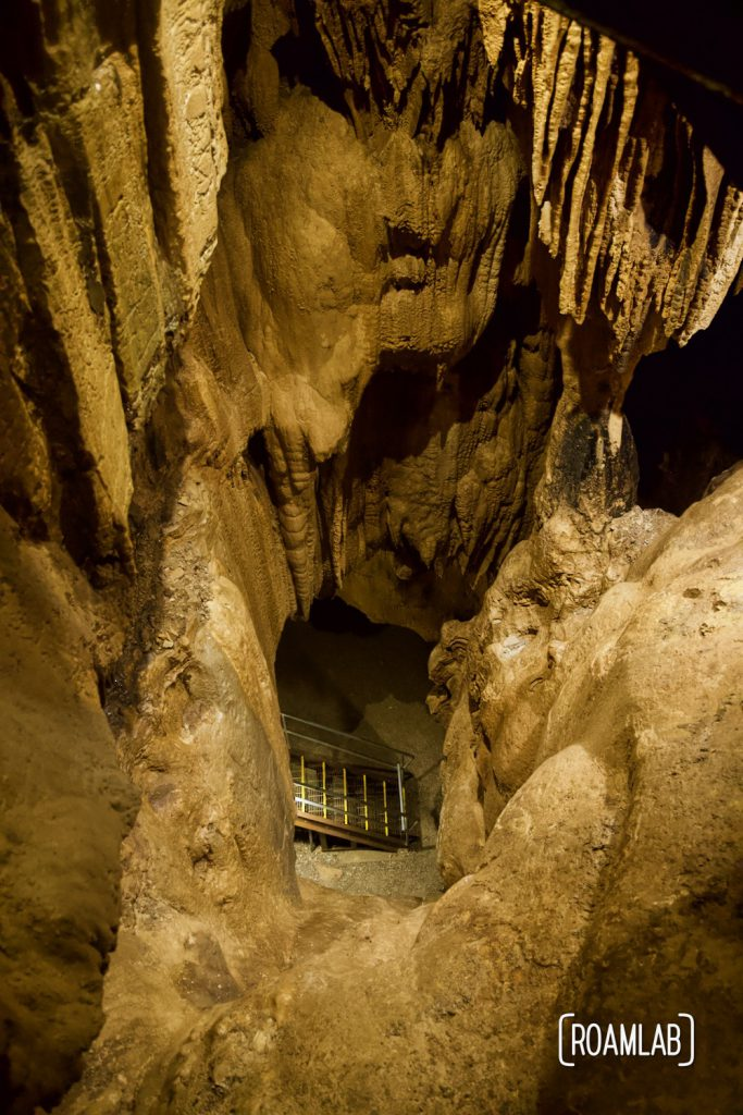 View down into the staircase of Crystal Onyx Cave's lower level.