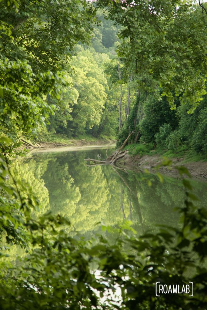 View of the Green River from Houchin Ferry Primitive Campground in Mammoth Cave National Park