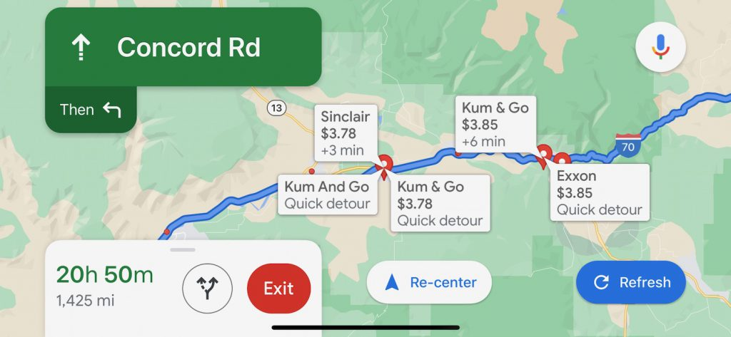 Screenshot of Google Maps route with gas station prices listed along the way.