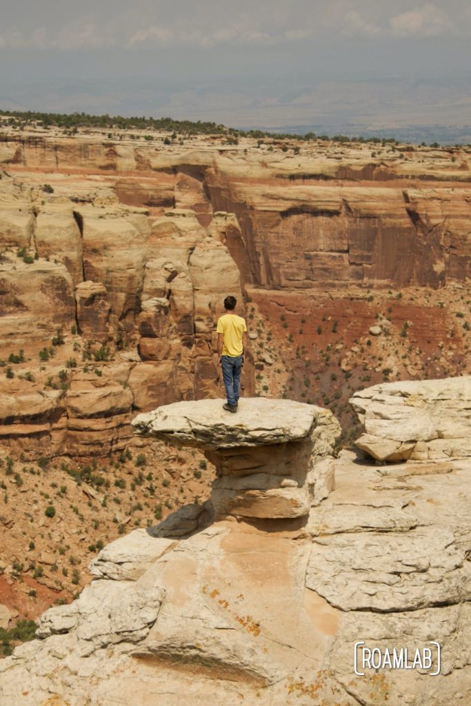 Man standing on a rock formation at Cold Shivers Point Overlook in Colorado National Monument.