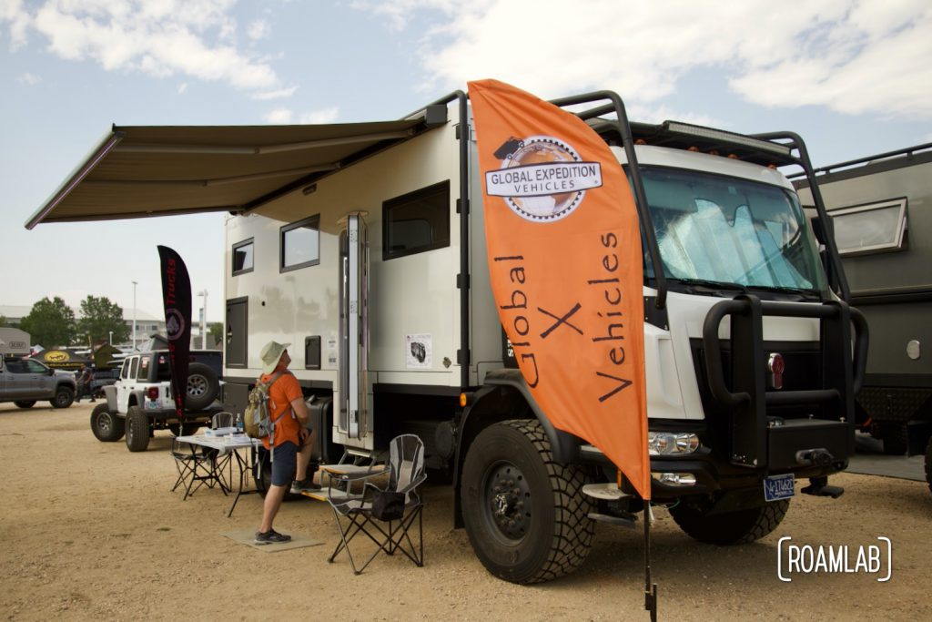 A grand rig on display by Global Expedition Vehicles.